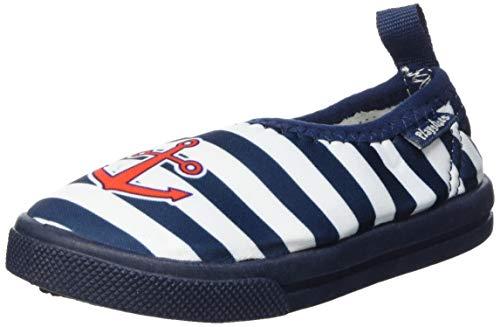 Playshoes Unisex Kids Aqua-Schuhe Slipper Maritim, Blau (Marine/Weiß 171), 24/25 EU