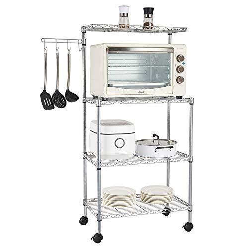 LYDIANZI US 4Tier Kitchen Bakers Rack Soporte para Horno De Microondas Carro De Almacenamiento Estante para Estación De Trabajo