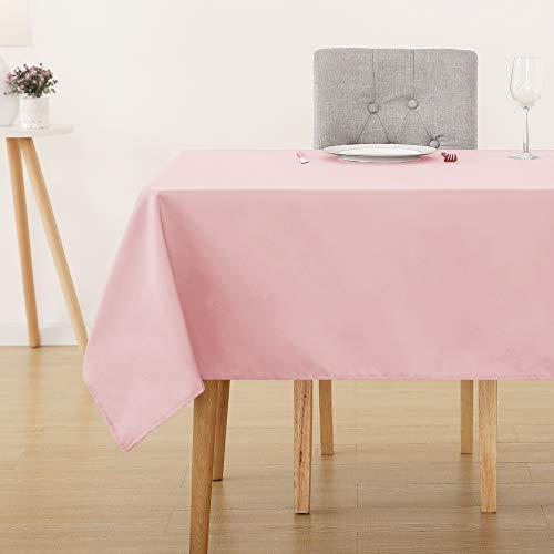 Deconovo Tovaglia Impermeabile per Cucina Tinta Unita per Tavoli Rotondi e Rettangolare in Tessuto Oxford 1 Pezzo per Confezione per Sala da Pranzo 137x274 CM Rosa