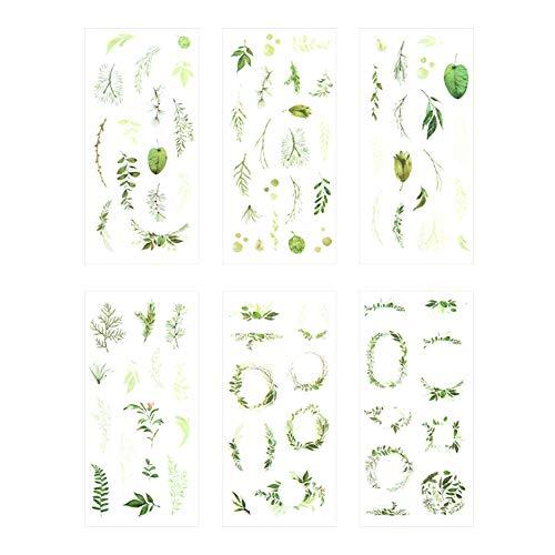 Haodou 6 Hojas/Set Verano Hojas Plantas Creativo Decoración Scrapbooking Pegatinas PVC Transparente Papelería Planificador Pegatinas