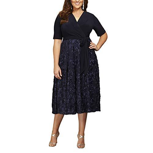 Alex Evenings Women's Plus Size Tea Length Dress with Rosette Detail, Navy Tie Front, 20W