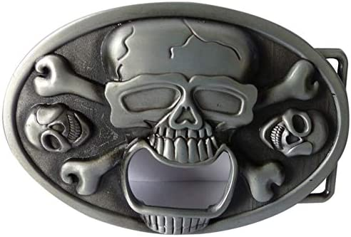 Western Beer Belt Buckle Bottle Opener Skull and Bones Design product image