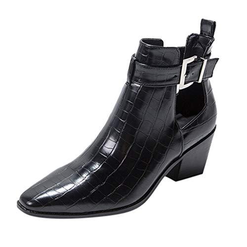 serliyHerbst Winter Mode Lässig Chelsea Boots,Reine Farbe Zip Karree Square Heels Vintage Stiefeletten Frauen Schuhe Gummistiefel mit Blockabsatz Business Pumps