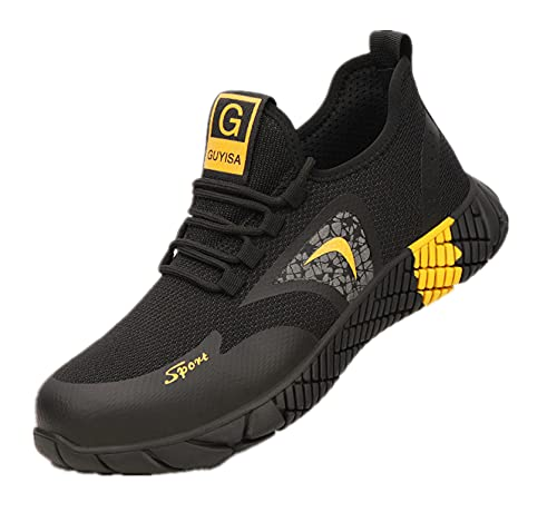 YUANB Seguro de Trabajo Zapatos Hombre Anti-aplastamiento Anti-perforación Luz y desgaste Zapatos de punta de acero y cómodo sitio de seguridad amarillo-47