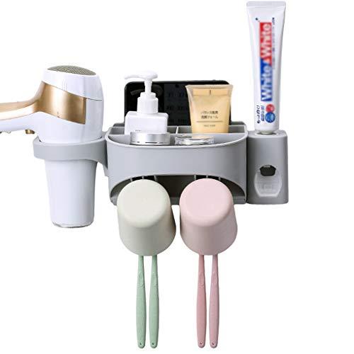 YJJY Wandhouder voor tandenborstel in de badkamer, slagvrij badkamerrek, multifunctionele set