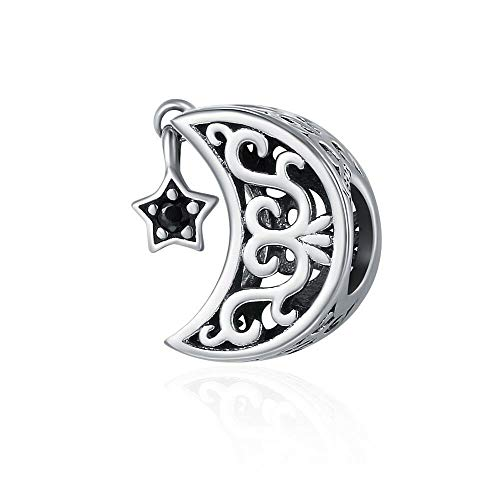Moon Star Charm 925 Sterling Silver Pendant Bead