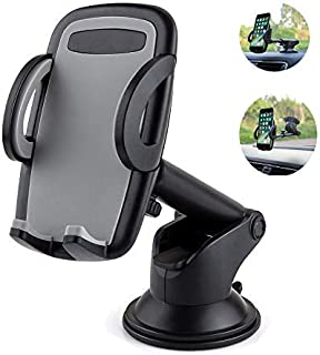 Cell Phone Car Mount, LSXD Dashboard & Windshield Car Phone Mount Holder for iPhone Xs Max R 8 Plus 7 6s SE Samsung Galaxy S9 S8 Edge S7 S6 Note 9 & Other Smartphone