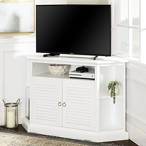 WE Furniture Simple Farmhouse Wood Universal Stand with Storage Cabinets for TV's up to 58' Flat Screen Living Room Entertainment Center, 52 Inch, White
