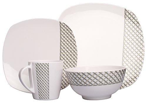 HEKERS Vajilla de 100% melamina Diamond gris rectangular – Juego de 8 piezas para 2 personas – Outdoor picnic camping apto para lavavajillas