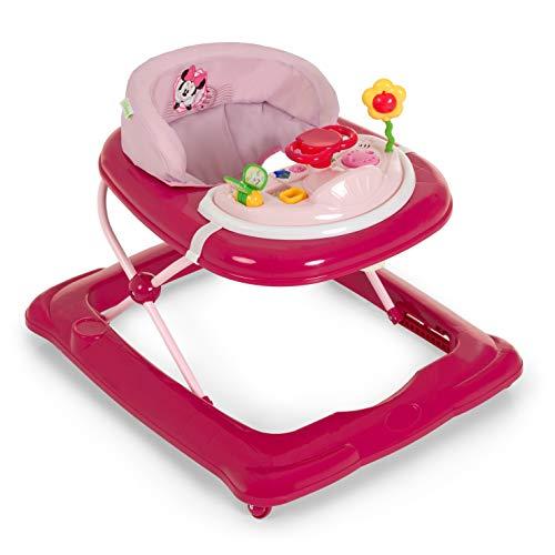 Hauck Player Disney Girello Bambino da 6 Mesi a 12 kg, Primi Passi con Musica, con Centro Giochi e Ruote, Seduta Imbottita Rimovibile, Regolabile in Altezza, Minnie Pink II (Rosa)