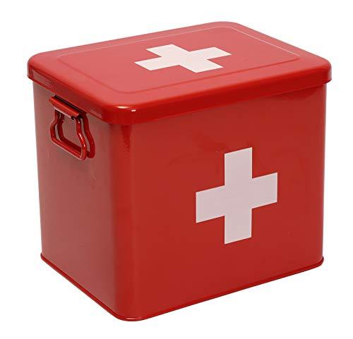 Xbopetda Kit de primeros auxilios, lata de almacenamiento de medicina de 2 niveles, caja de primeros auxilios con bandeja extraíble para herramientas de emergencia en el hogar (Rojo)