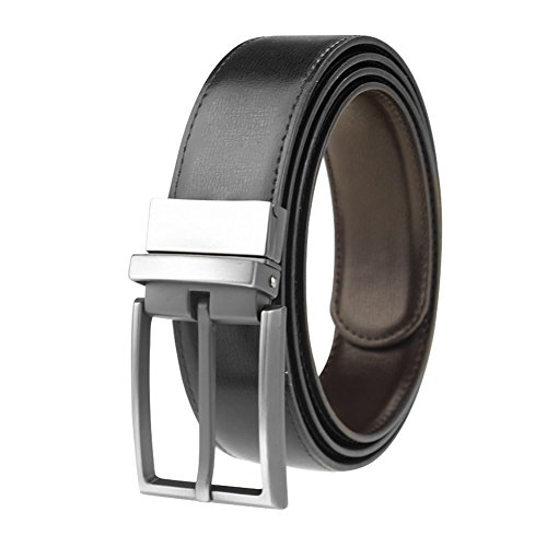 Men's Reversible Black/Brown Leather Dress Belt 1.25' Wide Rotated Buckle...