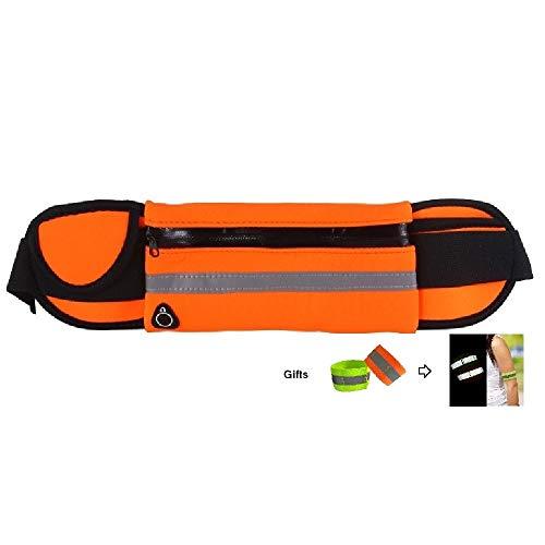 ZXJOY Riñonera para correr con bolsillo de viaje, impermeable, bolsa de hombro, soporte para teléfono, cinturón para correr, 5 colores (C-naranja)