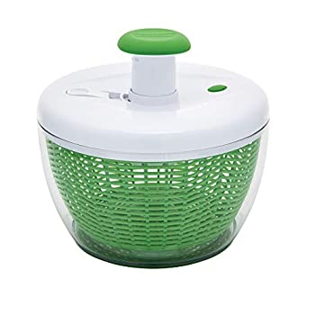 Farberware Easy to use pro Pump Spinner with Bowl Colander and Built in draining System for Fresh Crisp Clean Salad and Produce Large 6.6 quart Green