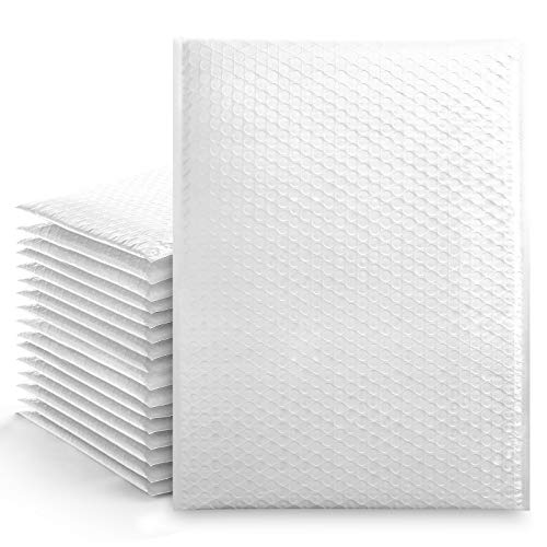Metronic 25Pcs Poly Bubble Mailers,10.5X16 Inch Envelopes Padded Bulk #5, Bubble Envelopes Lined Wrap Polymailer Bags for Shipping/ Packaging/ Mailing Self Seal White