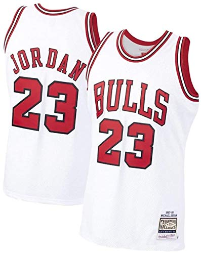 Jordan_Bull_23# Men Basketball Jersey,Unisex Retro Sleeveless Embroidered Basketball Top, Gym Sports Vest Sweat Wicking Quick Drying (White, S)