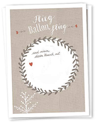 50 Ballonflugkarten - Flieg BALLON, flieg - für Hochzeit, Geburtstag, Taufe, Kommunion, Partyspiel mit Ballonkarten, beige weißes Design, extra leicht, 170 g Recyclingpapier, CO2 neutral