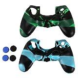 Fransande 2 fundas protectoras de silicona + 2 pares de tapas de plástico para mando de PS4, color verde, negro y azul y negro