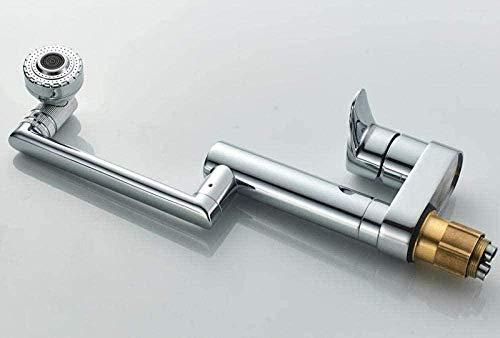 Grifo de Cocina, Grifo de baño moderno giratorio de 360 grados grifo de lavabo cromado grifo de cascada fría y caliente de una manija
