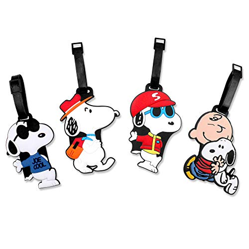 Finex 4 Pcs Set Snoopy Charlie Brown Silicone Travel Luggage Baggage Identification Labels ID Tag for Bag Suitcase Plane Cruise Ships with Belt Strap