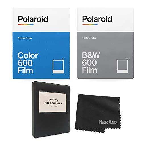 Polaroid Película instantánea en blanco y negro para 600 (8 exposiciones) color película instantánea para más de 600 álbumes + paño