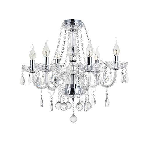 A1A9 Maria Theresa Crystal Chandelier Lights, Clear Glass K9 Crystal 6 Arms Ceiling Light Fixture LED Pendant Lighting for Living Room, Dining Room, Hallway, Stairway, Lounge, Size: D58cm H53cm