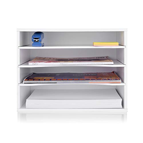 eMerit Wood Desktop Organizer Paper Storage Letter Tray File Sorter with Adjustable Shelves for Home Office,White
