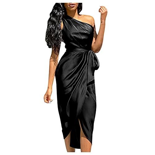 Zimuuy Vestido de Novia Boda Sexy para Mujer Escote Irregular sin Manga Vestidos de Seda Largos de Fiesta Rosa(Negro,S)