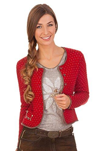 Spieth & Wensky Damen Trachten Strickjacke - Grace - Jeansblau, rot, Größe XL