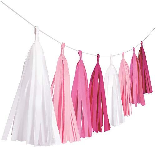 Amscan 9904611 - Fransengirlande Hot Pink, Länge 3 m, Hängedekoration, Geburtstag, Mottoparty, Karneval