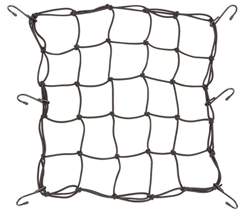 Powertye 15'x15' Mfg Cargo Net Made with Premium Latex Bungee Material, 3'x3' Mesh and Rubber-Tipped Super Strong Metal Hooks, Black