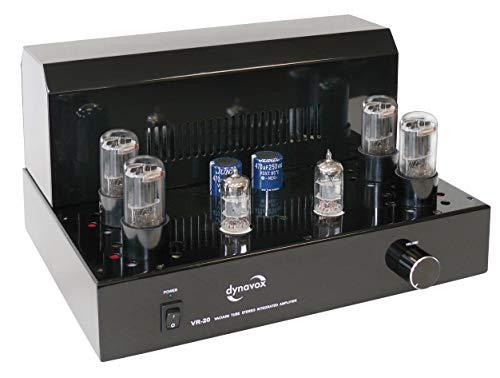 Dynavox Röhrenvollverstärker VR-20 schwarz, HiFi-Verstärker für warmen Röhren-Sound, Vintage-Design mit abnehmbaren Schutzgitter