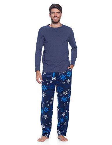 Ashford & Brooks Men's Jersey Knit Long-Sleeve Top and Mink Fleece Bottom Pajama Set - Navy Frozen Snowflake - Large