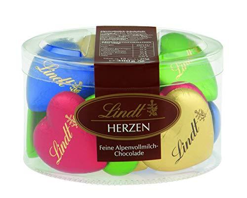 Lindt Vollmilchschokolade in Herzform, farblich gemischt, 15 Stück, 1er Pack (1 x 300 g)