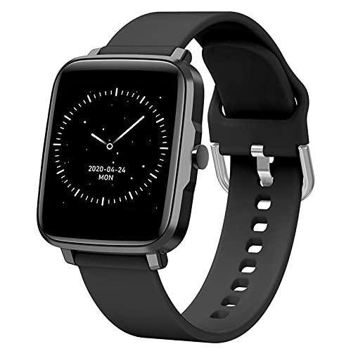 HQPCAHL Smartwatch Reloj Deportivo Pulsera Actividad con Temperatura Ciclo Menstrual Femenino Monitor de Sueño Pulsómetro Podómetro, Notificación, Rastreador de Salud Pulsera Actividad,Negro