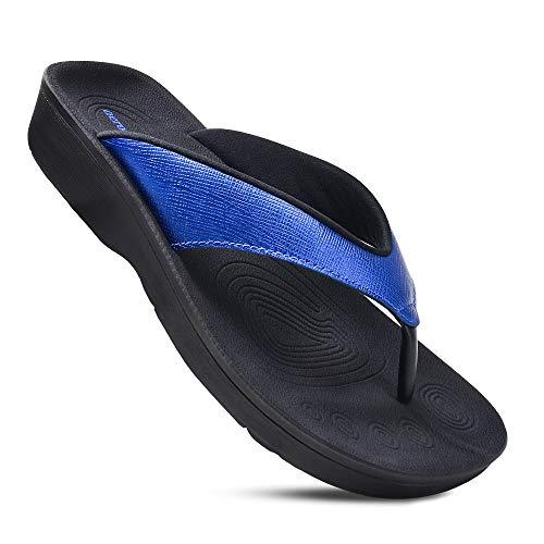 AEROTHOTIC Women's Comfortable Orthotic Flip-Flops Sandal (US Women 10, Matt Blue)