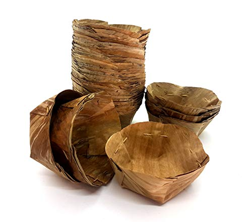 Natural Thai Handmade Dried Banana Leaf Cups (KRA Thong) for Serving or Steaming Disposable 100 Cups (Large)