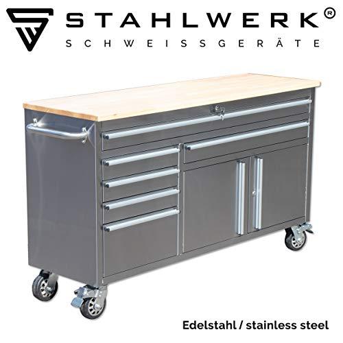 STAHLWERK Werkstattwagen W-602 ST, Werkzeugwagen, Montagewagen, 6 Schubladen 2 Türen, polierter Edelstahl, stabile Lenkrollen mit Feststellbremse