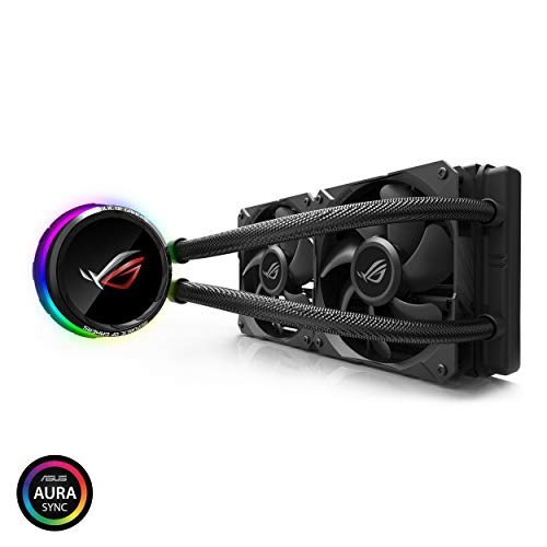 Asus ROG RYUO 240 RGB AIO Liquid CPU Cooler 240mm Radiator Dual 120mm 4-Pin PWM Fan...
