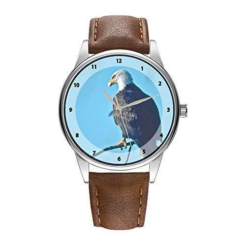 Herrenuhr braun Cortex Quarz Uhr für Männer berühmte Armbanduhr Quarzuhr für Werbegeschenk Weißkopfseeadler, der in den Baum-Armbanduhren sitzt