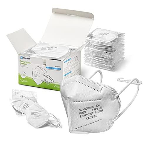 KM200 25 FFP2 Masken CE 2834 Zertifiziert für Erwachsene BFE >95%, Einzeln Versiegelte, Masken mit Nackenbügel, Weichem Gummiband und Nasenpolster