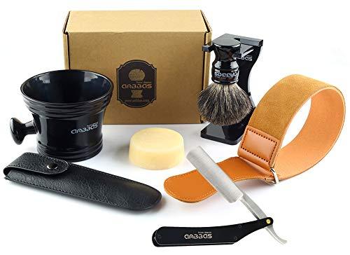 Anbbas Rasierset Luxus Herren Geschenk Set Rasierpinsel reines Dachshaar shaving brush badger Ständer Rasierseifen für Nassrasur