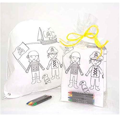 Mochila infantil piratas con 4 ceras para colorear. Presentada en bolsa celofán con atado de rafía a tono y tarjeta personalizada.LOTE DE 10 UNIDADES. Regalos para cumpleaños y fiestas infantiles.