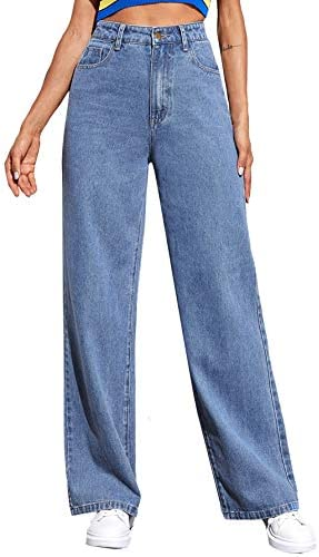 SOLY HUX Women s Casual Denim Pants High Waisted Wide Leg Jeans Blue M product image