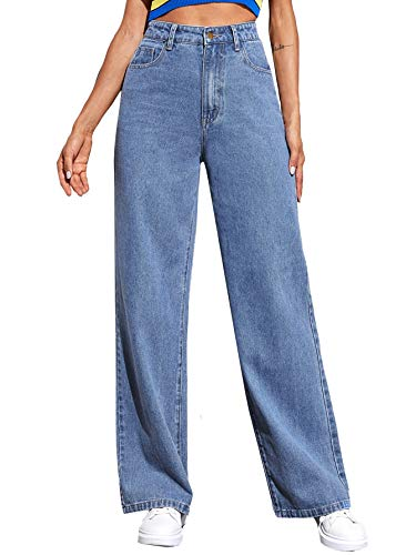 SOLY HUX Women's Casual Denim Pants High Waisted Wide Leg Jeans Blue L