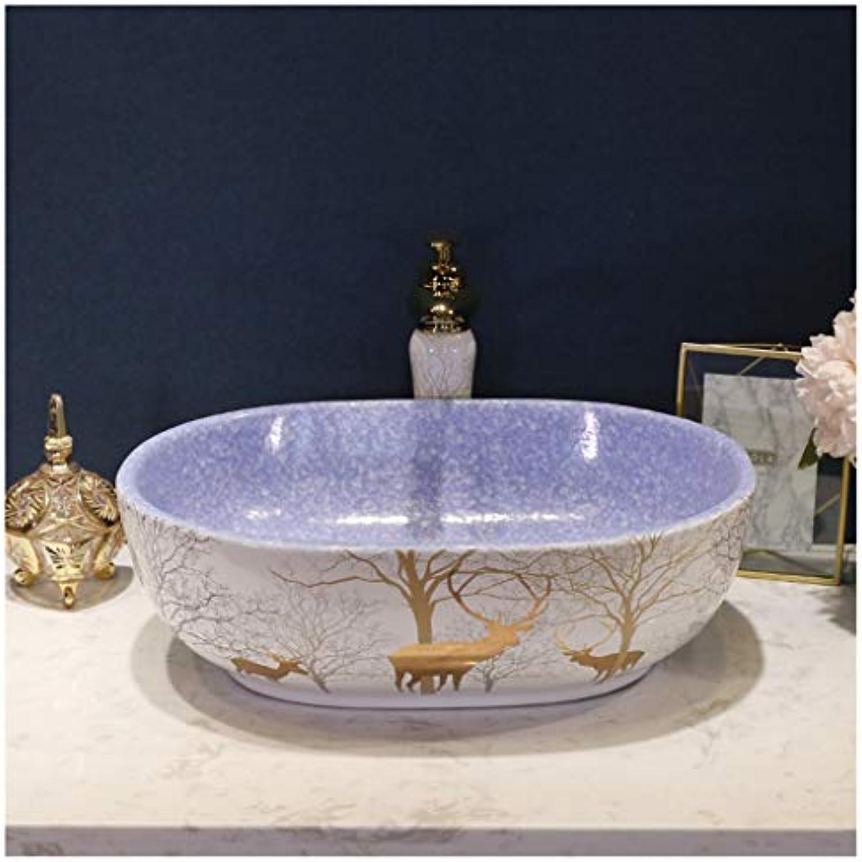 Waschbecken, Keramik, Europischer Stil Badezimmer Kunst Waschbecken über Zhler Becken (Farbe   Helles Lila, gre   Washbasin Set)