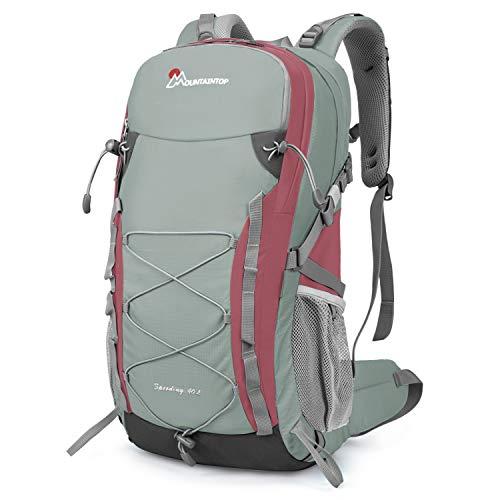 MOUNTAINTOP Zaino Trekking di 40 Litri Zaino da Montagna per Donna e Uomo Zaini da Viaggio Impermeabile con Copertura della Pioggia per Escursionismo Alpinismo Campeggio