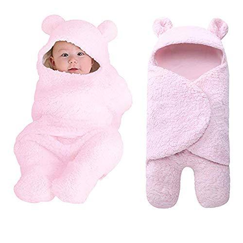 Saco de dormir para bebé recién nacido, con pies, manta de peluche con capucha, universal para bebés de 0 a 12 meses (rosa, 55 cm a 29 cm)