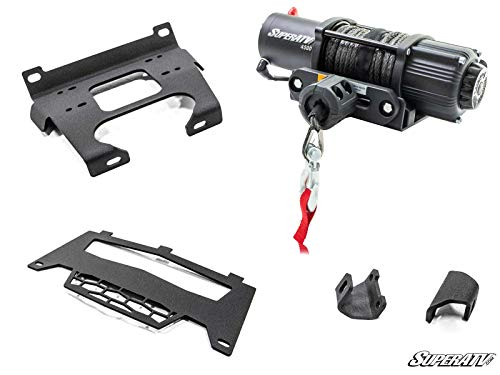 SuperATV Black Ops 4500 lb Winch with Winch Mounting Plate for Polaris RZR 900/900 S / 4 900 (For Machines Manufactured After 9/1/2014) | Complete RZR Winch Kit Ready for Install!