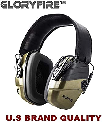 GLORYFIRE Electronic Shooting Earmuff Sound Amplification 6 Times Electric Earmuffs Perfect for Hunting and Shooting (Olive Green)